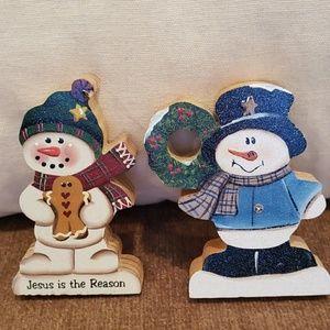 NWOT 2 Handcrafted Wooden Snowmen